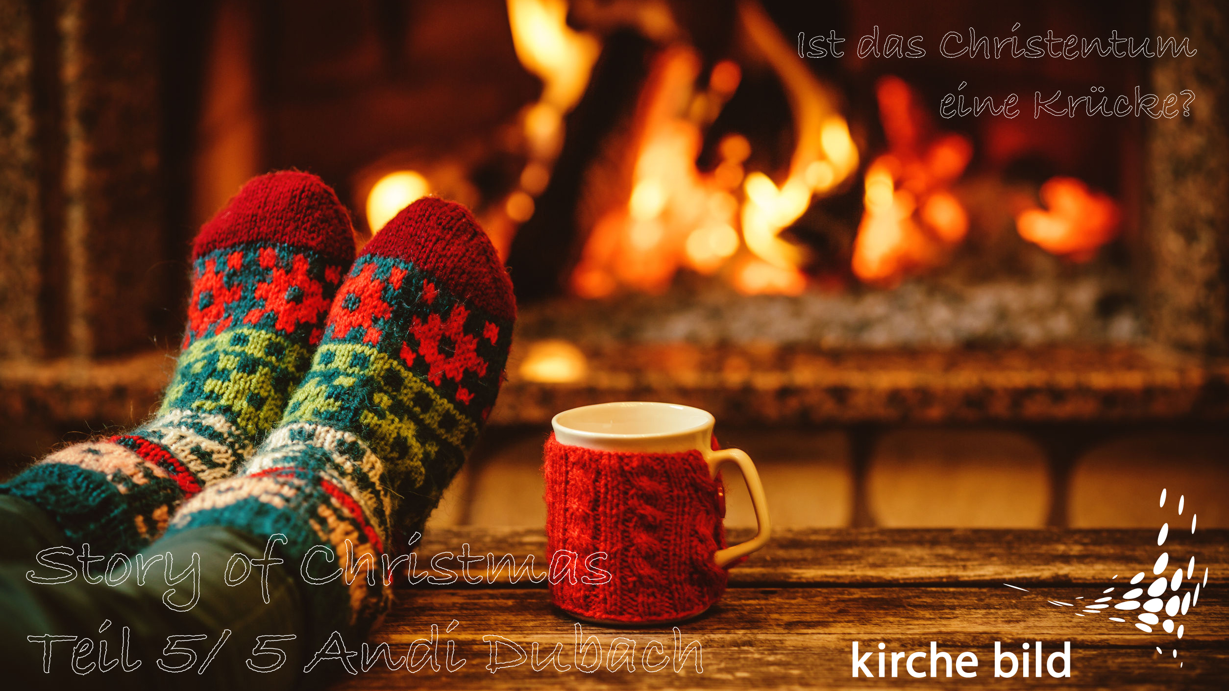 46927077 - feet in woollen socks by the christmas fireplace. woman relaxes by warm fire with a cup of hot drink and warming up her feet in woollen socks. close up on feet. winter and christmas holidays concept.